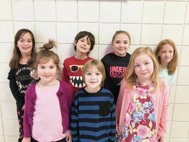 Provided photo Springcreek Primary School's Students of the Month for January are, front, left to right: Zariah Bowers, Chance Hamilton, Abigail Carnahan Lowe; back, left to right: Aria Martin, Carter Hill, Kallie Anderson.