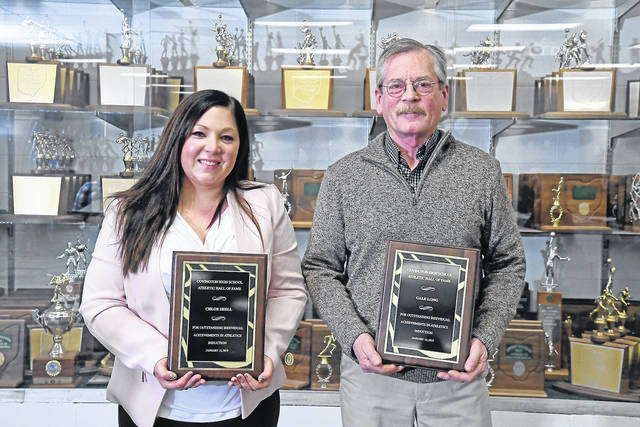 Ben Robinson|GoBuccs.com Chloe Shell (left) and Gale Long (right) were inducted into the Covington Athletic Hall of Fame Saturday night.