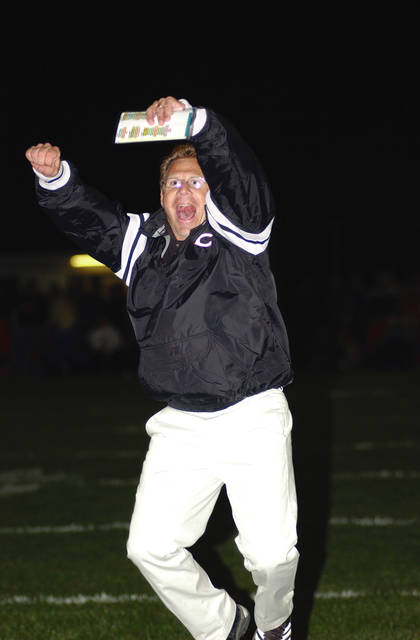 Ben Robinson|GoBuccs.com Kevin Finfrock celebrates one of his many big wins as Covington football coach