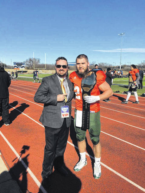 Ben Robinson|GoBuccs.com Former Covington and Ohio University standout A.J. Ouellette was named Offensive MVP of the Gridiron Showcase.