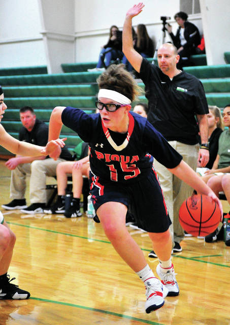 Piqua's Karley Johns drives to the basket Monday night against Bethel.