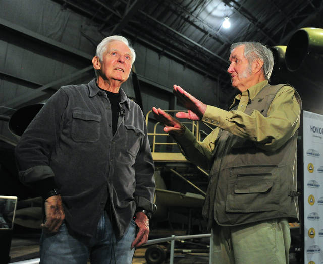 Brothers and National Aviation Hall of Fame enshrinees Dick and Burt Rutan tour the National Museum of the United States Air Force on Thursday morning.