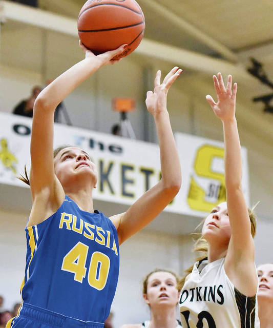 Luke Gronneberg|Aim Media Photo Russia's Ella Hoehne shoots over Botkins' Makenna Maurer Saturday.