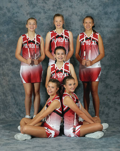 Lee Woolery | Miami Valley Today Troy Pop Rocks jump rope team eighth graders (front row, left-right) Elise Hempker and Olivia Johnston; (middle row) AnnMarie Palombi; (back row, left-right) Megan Robinson, Alaina Buerger and Katie Bertke will have their final local performance of the season Friday at halftime of the Troy boys basketball team's game. The six eighth-graders will end their careers as Pop Rocks next month.