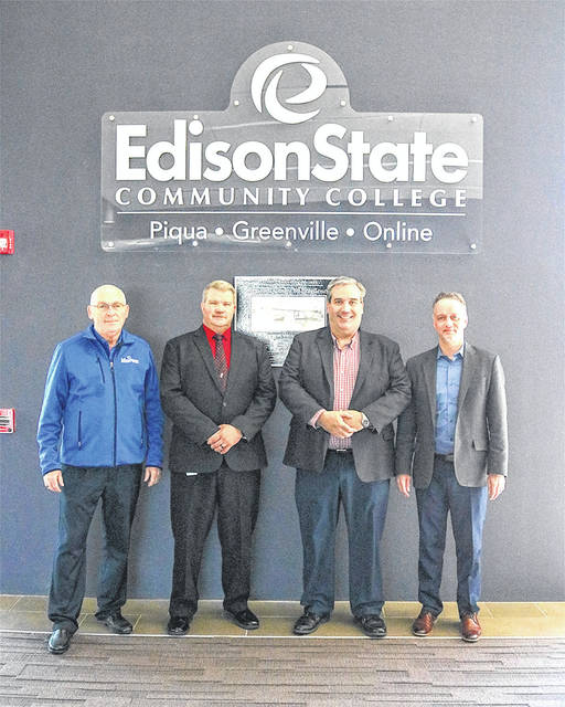 Provided photo Pictured left to right: Steven Sykes, Edison State professor of Manufacturing and Industrial Management; Dr. Tony Human, dean of Professional and Technical Programs; Ben Brigham, Nidec Minster talent development manager; and Chris Spradlin, Edison State provost.