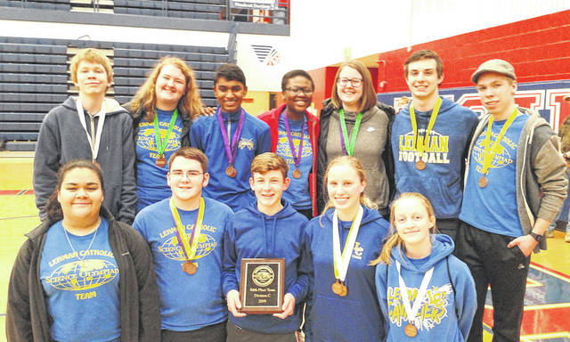 Provided photo Participants in the Regional Science Olympiad included, front row: Lexy Casillas, Joe Ritze, Max Schmiesing, Angela Brunner and Emily Bornhorst; back row: Casey Topp, Mary Deafenbaugh, Joshua George, Rebecca Sanogo, Ann Deafenbaugh, Nicholas Largent and Aaron Topp. Not pictured: Elias Bezy, Jacquie Schemmel and Michael O'Leary.