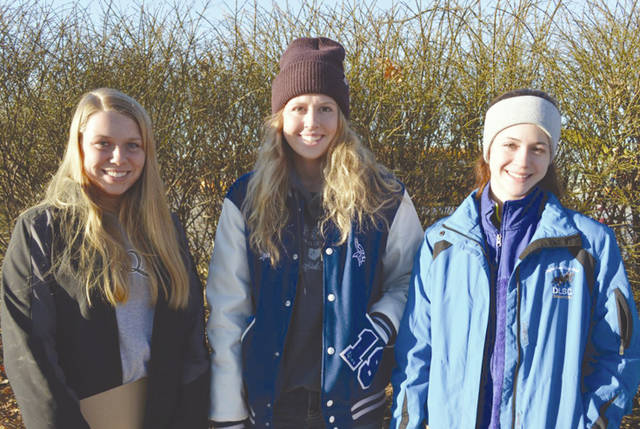 Provided photo Members of the State Equine Management team were, left to right, Jessica Copeland, Liza Bair, and Marisa Savini.