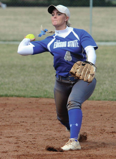 Edison State second baseman Rayna Brownlee throws a runner out at first against Cuyahoga Community College Friday.