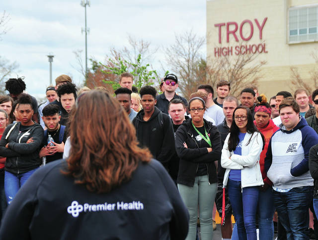 Troy High School students hang on every word as Laura Seger of Premier Health relates her story during Friday's Premier Health/CareFlight DriveSmart presentation. Segar bravely tells her story of losing her son, Joey, in a fatal crash in 2010
