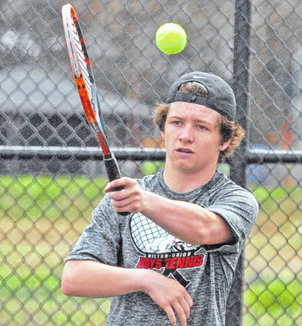 Josh Brown|Miami Valley Sunday News Milton-Union's Peyton Brown won an individual championship at third singles at the Schroeder Invitational Saturday at Schroeder Tennis Center.