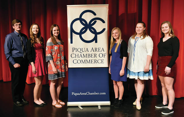 Six area seniors were recognized for earning Piqua Area Chamber of Commerce Top 100 status at area schools witin the 45356 Zip Code. The six include Tessa Arnett and Ethan Gevedon from Piqua High School, and Allison Bornhorst, Grace Brandt, Kieara Burns, and Grace Monnin, from Lehman Catholic.