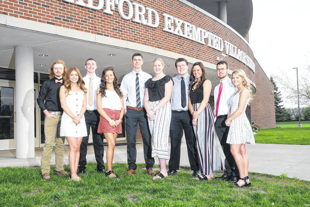 "Provided photo Bradford High School has named their Prom court,from left to right, Nate Fries, Amy Roberts, Joe Roth, Marissa Cassel, Larkin Painter, Bianca Keener, Jarrett Boggs, Elisa Martinez, Shane Bryan, and Macie Reck. The prom will be held from 8-11 p.m. Saturday, May 4 at the high school. The theme is ""Enchanted Forest."" An After-Prom event will follow."