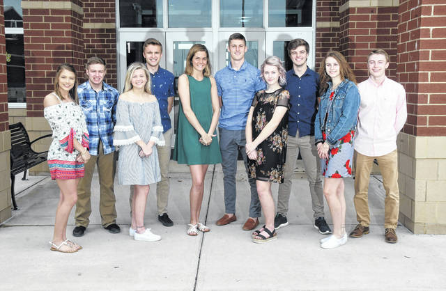 "Ben Robinson | For Miami Valley Today Covington High School Prom king and queen candidates include, left to right, Ashlyn Plessinger, Keringten Martin, Sarah Remley, Tyler Fraley, Lillian Hamilton, Gray Harshbarger, Madison Williams, Caleb Rawson, Leah Poling, and Chad Yohey. Covington's Prom will be held Saturday, April 27 beginning at 5:30 p.m. at Stillwater Valley Golf Club, Versailles. This year's theme is ""Glitter and Gold."" An After-Prom event will follow at the high school."