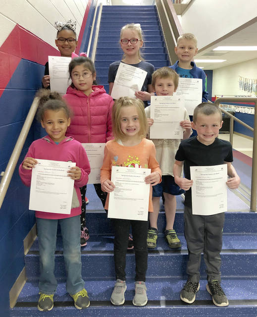 Provided photo Springcreek Primary has announced the Spring Students of the Month! These students have shown exemplary behavior inside and outside of school. March recipients include, top row, from left: Demi Roberts, Payton Shoffner and Aiden Allen. Middle row, Tiffany Liu and Bentlee Freshour. Front row: MaKenna Mansia, Erica Tilton and Gaige Tobe.