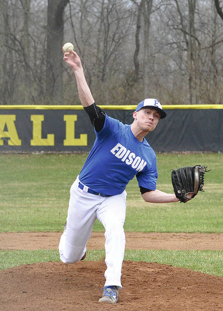 Rob Kiser|Call Photo Edison State pitcher Dylan Welch throws a strike against Sinclair Sunday.
