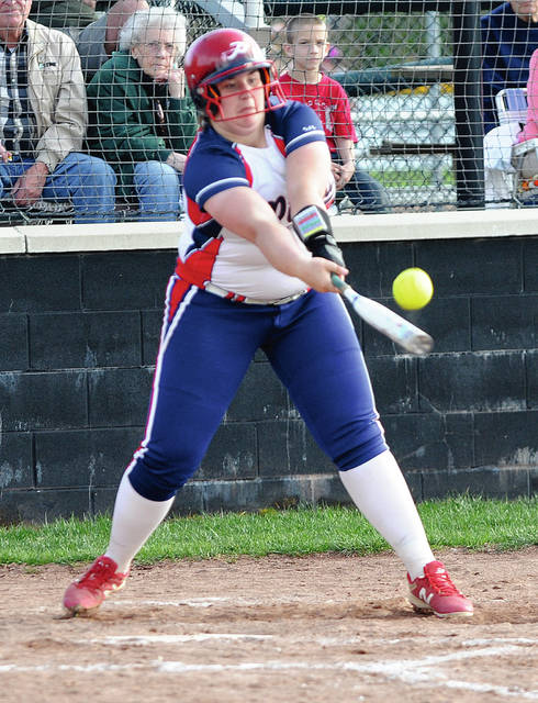 Rob Kiser|Call Photo Piqua's Mariah Blankenship makes contact against Greenville Monday.