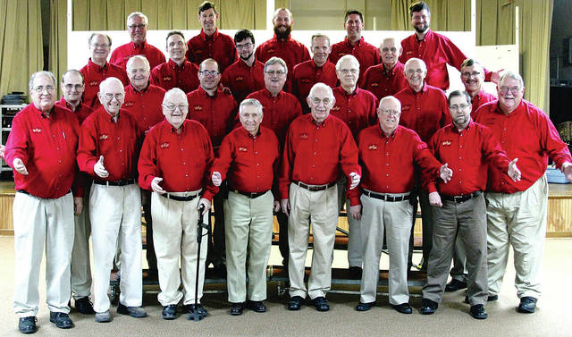 Provided photo The Melody Men Chorus consists of: (front row, left-right) Julian Fasano, Don Jones, Don Heffner, Ron Ventura, Gordon Davis, Don Buirley, Mark Swearingen and Gary Roeth; (second row, left-right) Matt Blatchly, Jim Riley, Brad Boehringer, Gary Frick, Ken Crawford, Dale McKinney and Bob Moore; (third row, left-right) Steve McCall, Chris Benge, Zach McCall, Dale Smith and Russ Schmidt; (fourth row, left-right) Mark Eickhoff, Dean Brewer, Scott Eickhoff, Jason Sin and Michael Finney.