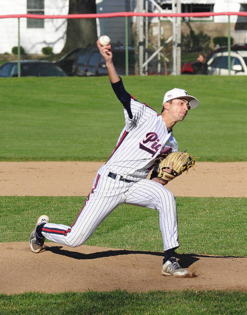 Rob Kiser|Miami Valley Today Photo Piqua pitcher Owen Toopes fires a strike to the plate Monday against Sidney.