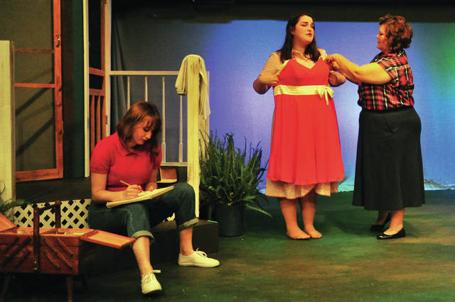 "From left, Millie Owens, played by Camille Scribner; Madge Owens, played by Sydney Edington, and Flow Owens, played by Beth Shrake, perform a scene from the upcoming Troy Civic Theatre production ""Picnic,"" during a dress rehearsal at the Barn in the Park on Tuesday."