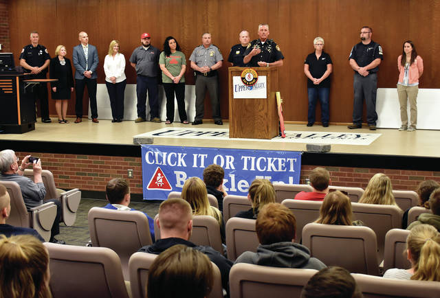 Miami County Sheriff Dave Duchak addresses students at the Upper Valley Career Center on Tuesday as other officials from law enforcement, insurance companies, tow companies, and the Ohio Department of Transportation join him for the kick-off of Click It or Ticket 2019 at the career center. The Click It or Ticket campaign is to help educate students and adults to promote safe driving as summer approaches. ©2019 Miami Valley Today, All rights reserved