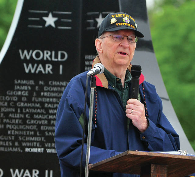 Mr. Kornelis Mulder of Troy and a native of the Netherlands gives the keynote address at the Piqua Memorial Day Program at the Piqua Veteran's Memorial on Monday.