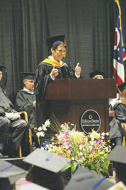 Provided photo Dr. Cassie Barlow, Interim President of SOCHE, addresses the Edison State Community College's Class of 2019 at the 44th annual commencement ceremony.