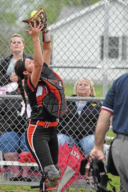 Ben Robinson|GoBuccs.com Bradford catcher Elisa Martinez catches a foul pop against Covington Wednesday.