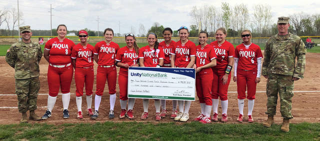 Photo Provided The Piqua Indians softball team raised $920 on its Military Apprection Night. The money goes to the Piqua National Guard Family Readiness Group.