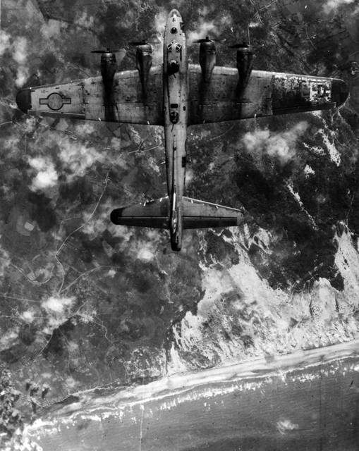 Photos Courtesy of the National Museum of the U.S. Air Force The day before the Normandy invasion, heavy bombers pounded enemy coastal defenses far north of the actual beaches. This was part of a successful trick to make the German defenders believe the landing would be in a different place.