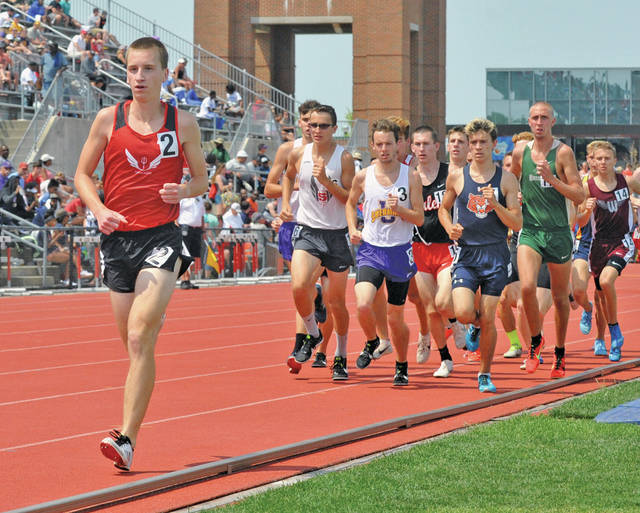 Josh Brown|Miami Valley Today Tippecanoe's Bryce Conley leads the pack in the 3,200 at the Division II state meet Saturday at Jesse Owens Memorial Stadium.