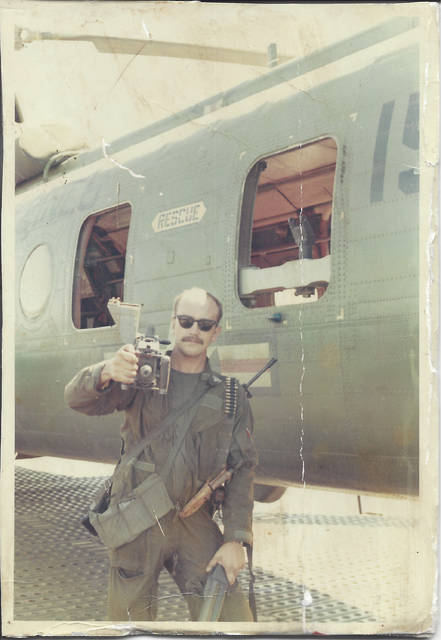 Provided photo Dennis Pregent serving with a Marine helicopter squadron in Vietnam in 1970. Pregent, a former Piqua resident, authored a book to be released in the fall about a group of Vietnam War veterans.