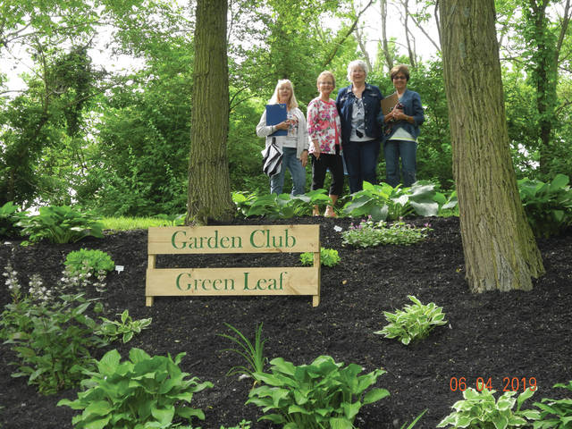 Provied photo The judging team from the Ohio Association of Garden Clubs — including (from left-right) Linda Jenngs of Sidney, Gloria Parker of Troy, Green Leaf President Judy Quinter and Ann Heeley of Sidney recently viewed the Green Lead Garden Club of Piqua's beautification project at French Park.