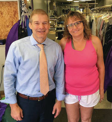 "Provided photo U.S. Representative Jim Jordan, R-4th District, with Janet Koon, the owner of Rocket Cleaners. Jordan visited Rocket Cleaners, 329 N. Main Street in Piqua, on Thursday. Koon said that she was ""really excited"" about the visit after getting connected to Jordan through one of Jordan's staff members."