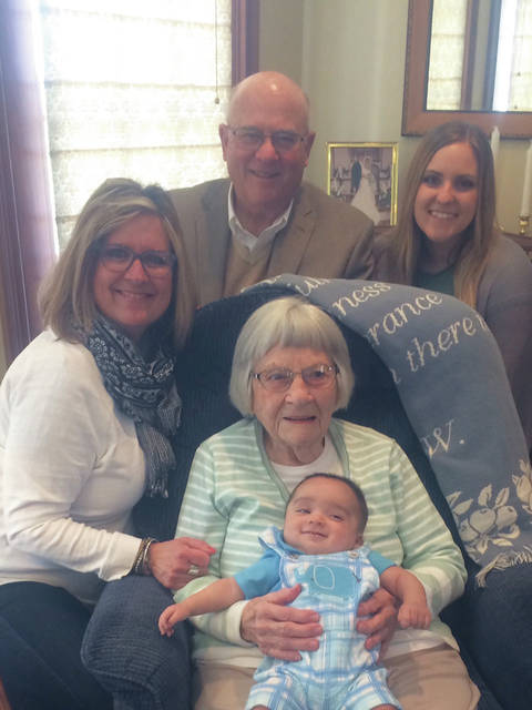 Provided photo Katherine Pence Nothstine will celebrate her 100th birthday on June 22 with friends, family and five generations pictured here. Great-great-grandson Casey Luna, granddaughter Pam Pence Koester, son Don Pence and great-granddaughter Kelsey Koester Luna.