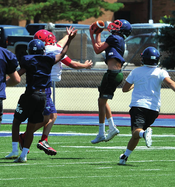 Piqua freshman Brady Ouhl intercepts a pass during a 7-on-7 with Northwestern Tuesday at Alexander Stadium/Purk Field.