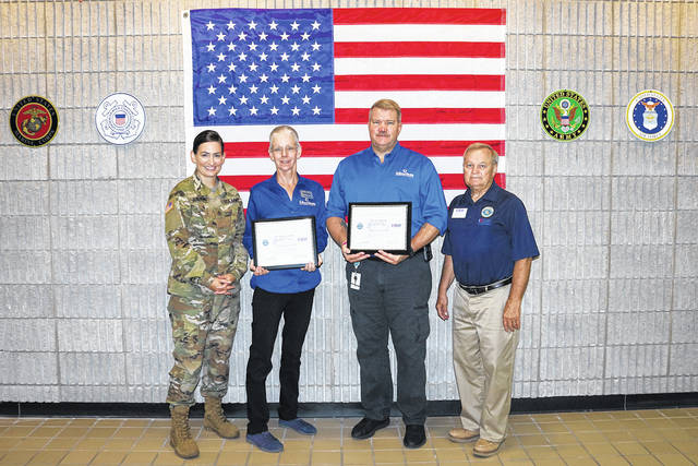 Provided photo Left to right, Brandi Olberding, director of Apprenticeships and Work-Based Learning, Dr. Doreen Larson, president of Edison State, Dr. Tony Human, dean of Professional and Technical Programs, and Eddie Reed, Western Region deputy chair of the ESGR.