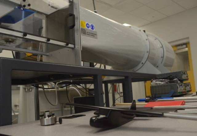 A model of a single-engine plane is one of the many objects Kent State University tests in its wind tunnel.