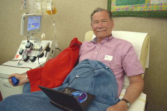 "Provided photo Troy donor Steven Gellatly has joined the ""500 Club"" at Community Blood Center. He celebrated with congratulations and cupcakes July 3 at the Dayton CBC Donor Center after making his milestone 500th lifetime donation. He becomes only the eighth CBC donor to reach the milestone."