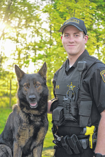 Provided photo Miami County Sheriff's Office Deputy Ryan Thobe has become the office's newest K9 handler, along with his K9 Vello.