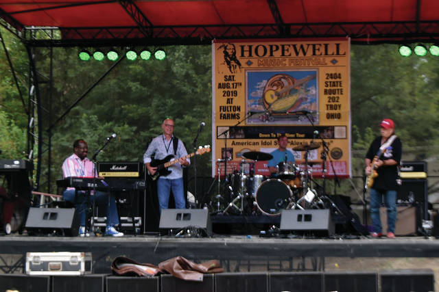 Michael Locke, a local entertainer, performs at the Hopewell Music Festival at Fulton Farms last weekend