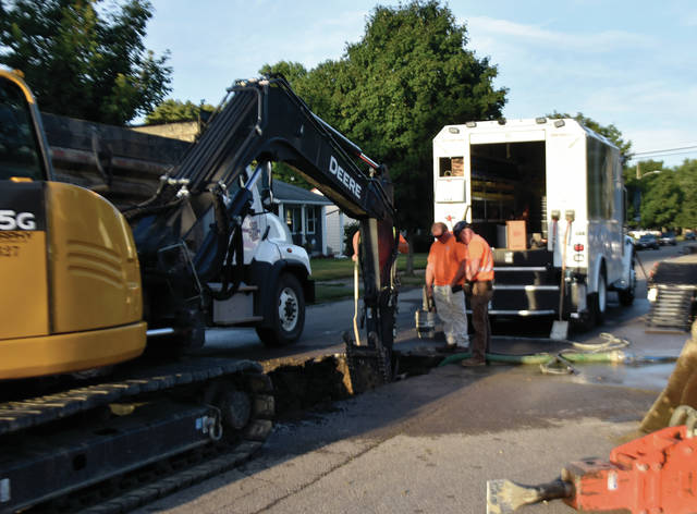 Crews from the City of Troy work to repair a water main break on North Road in the Westbrook section of town on Sunday afternoon. Workers on the scene said that the break only affects customers in the immediate vicinity and repairs should be complete yet this evening. ©2019 Miami Valley Today. All rights reserved