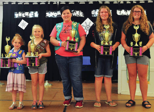 Individual trophies for Girl Scouts were awarded to, Daisy, Raelann Daniels; Brownie, Katie Tremblay; Junior, Calleigh Edgell; Cadette Caitlin Ridge; Senior Laylah Pistole; Ambassador, Caroline Rhea