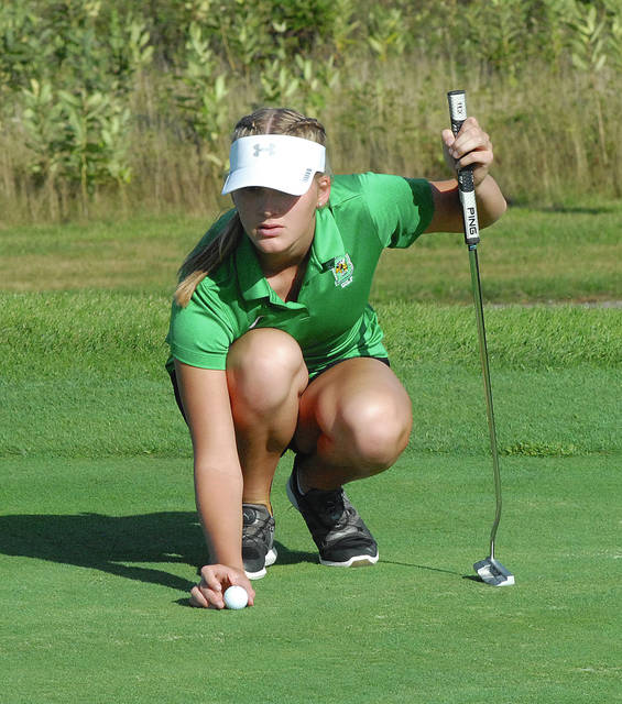 Rob Kiser|Miami Valley Today Bethel's Ashley Newton lines up her putt on the third hole Wednesday.