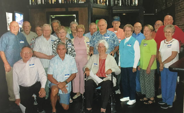 Provided photo Front: Roland Kellar, Rex Baker, and Louise Pearson Snead. Row two: Bob Jackson, Marcella Wietholter Puterbaugh, Belva Supinger Bemus, Carol Rice Boyer, Manfried Kirchner, Margie Bussard Jessup, Judy Tinkler Walton, and Gwen Bard Karr. Row three: Jim DeWeese, Nancy Woodbury Woods, Jim Walton, Shirley Smith Jones, Steve Denman, Dave Black, Capp Whitney, Charles Strohmenger, and Tom Bolton. Attended reunion but not pictured: Russel Hartman and Marlene Bolden Mitchell.