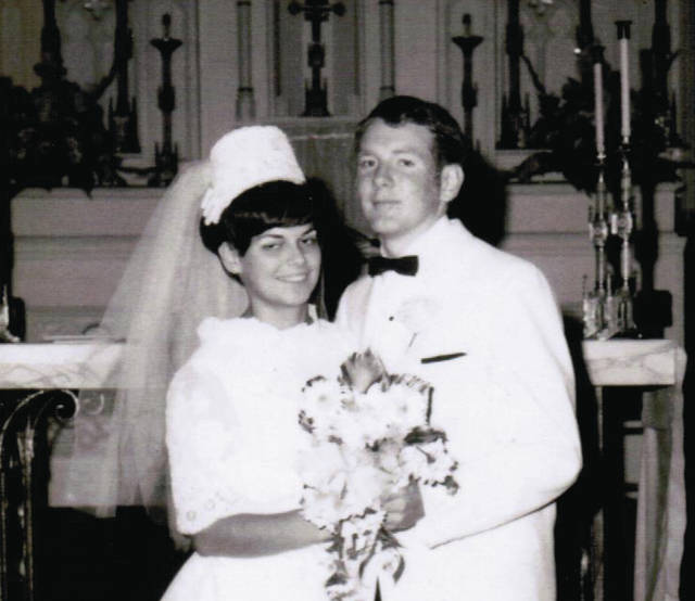 Provided photo  Tim and Margie Wallace were married Sept. 27, 1969 at St. Mary Church, Piqua.