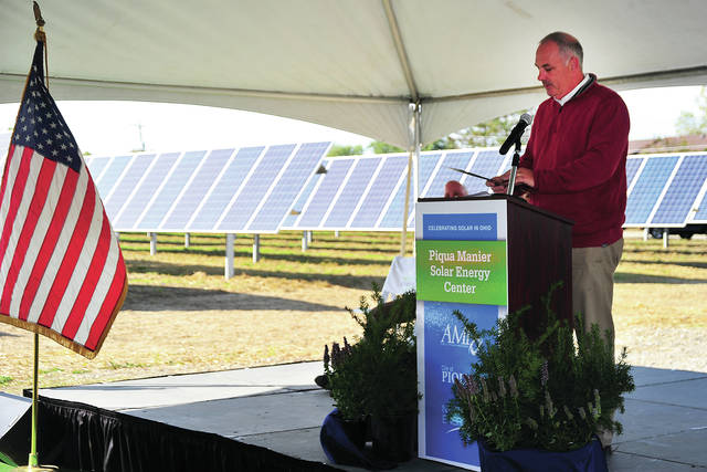 Ohio Senator Stephen Huffman speaks at Thursday's ribbon cutting ceremony for the Manier solar field.