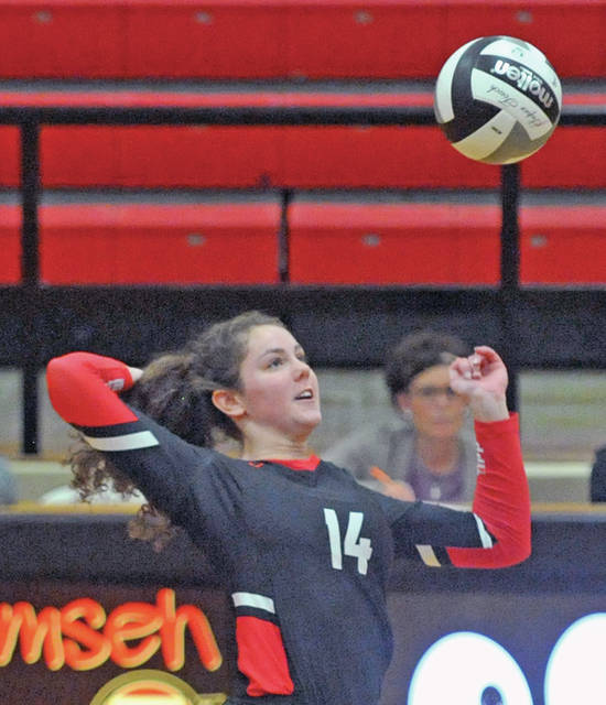 Josh Brown|Miami Valley Today Tippecanoe's Rachel Wildermuth goes up for a kill in a Division II district semifinal against Urbana Wednesday at Tecumseh High School.