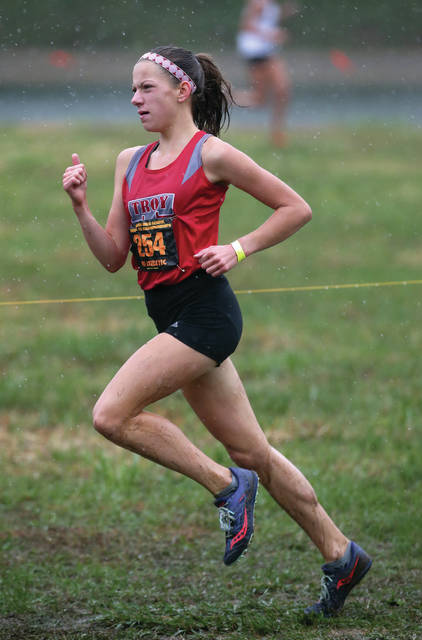 Lee Woolery|Miami Valley Today Troy's Dinah Gigandet qualified for the state meet at the Division I regional cross country meet Saturday in Troy.