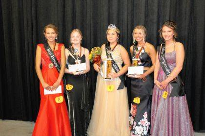 Shown are Andrea Monnin, best evening gown; Jillian Thomas, second runner-up; Brooke Turner, Miss Pumpkin; Kendall Hill, first runner-up; and Alexus Booker, Miss Congeniality and Miss Photogenic.