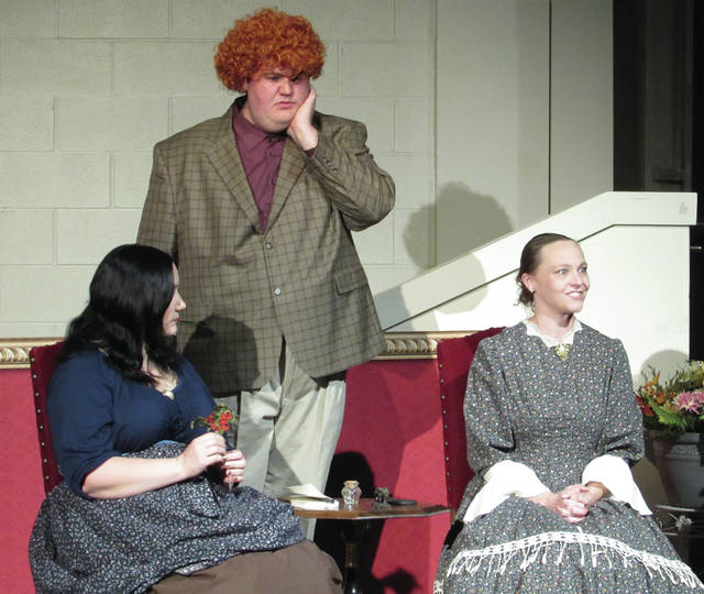 """Sam Wildow   Miami Valley Today Bridget Collins of Greenville as Luciana (left), Sean McSwain of Jackson Center as Dromio of Ephesus (middle), and Emily Beisner of Troy as Adriana (right) in the Edison Stagelight Players' performance of """"The Comedy of Errors."""""""